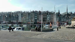 Europe France Normandy fishing village of Honfleur 051 harbor and city Footage