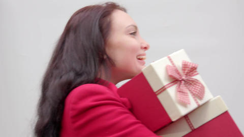 Funny girl with gifts Footage
