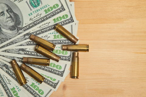 The used shell casings is on a money フォト