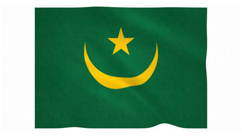 Flag of Mauritania waving on white background Animation