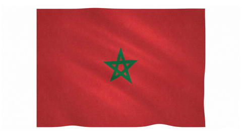 Flag of Morocco waving on white background Animation