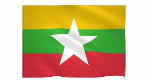 Flag of Myanmar waving on white background Animation