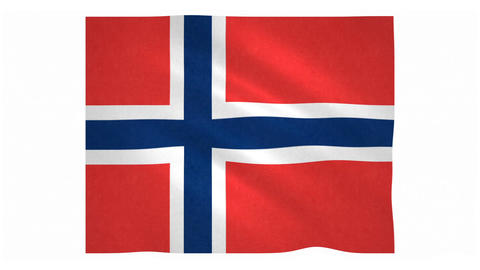 Flag of Norway waving on white background Animation