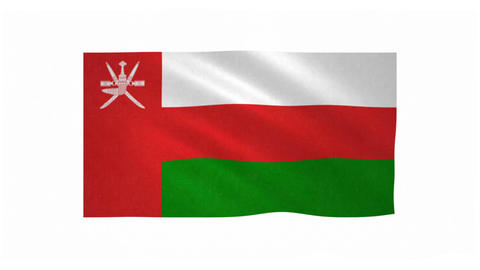 Flag of Oman waving on white background Animation