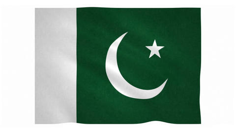 Flag of Pakistan waving on white background Animation