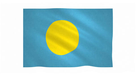 Flag of Palau waving on white background Animation