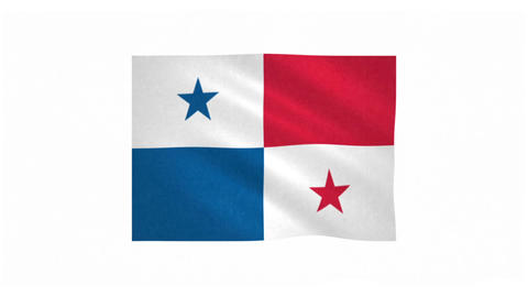 Flag of Panama waving on white background Animation