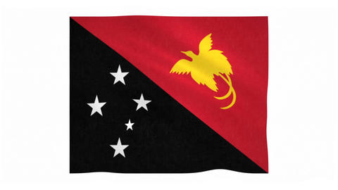 Flag of Papua New Guinea waving on white background Animation