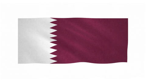 Flag of Qatar waving on white background Animation