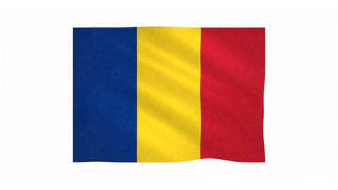 Flag of Romania waving on white background Animation