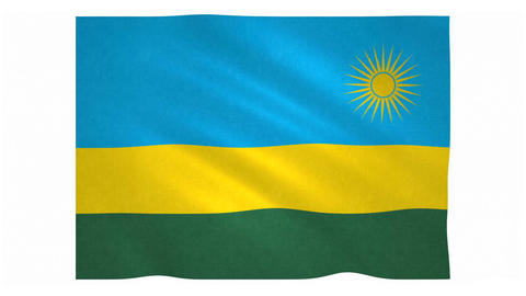 Flag of Rwanda waving on white background Animation