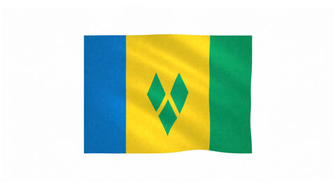 Flag of Saint Vincent and the Grenadines waving on white background Animation