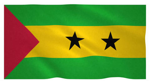 Flag of Sao Tome and Principe waving on white background Animation