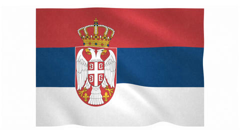 Flag of Serbia waving on white background Animation