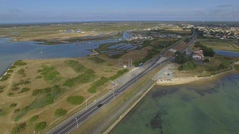 Island Bridge Oléron seen by drone Footage