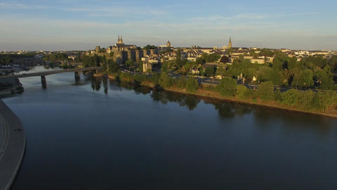 Aerial view by drone of Angers from the banks of the Maine Footage