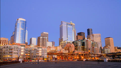 Sunset Over downtown Seattle Time Lapse Footage