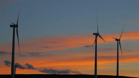 Wind Farm close sunset with colorful clouds 画像