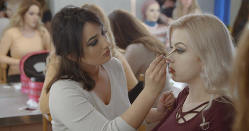 Makeup artist makes a girl beautiful makeup before photo shooting Footage
