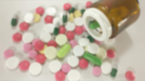 Pills and capsules Zooming Stock Video Footage