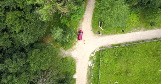 Aerial Drone View Of Lost Travelers In Forest Live Action