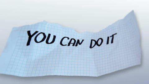 "word"" you can do it "" on torn paper on gradient background Animation"