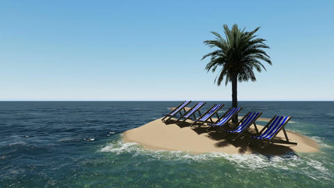 chairs under an umbrella at the beach by sunny day and palm trees - 3D render Animation