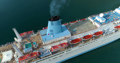 Cruise ship from the top. Aerial