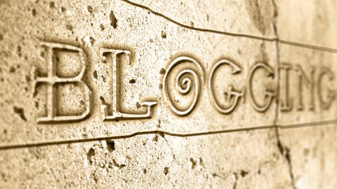 word blogging on wall with egyptian alphabet Animation