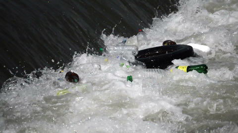 A large amount of trash polluting our waters Footage