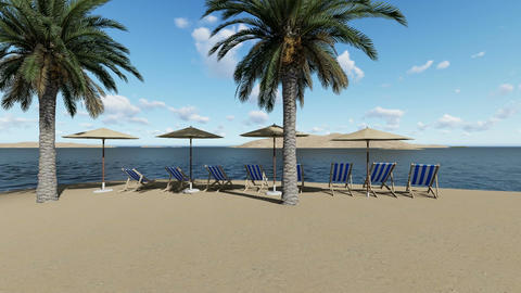chairs under an umbrellas at the beach by sunny day and palm trees - 3D render Animation