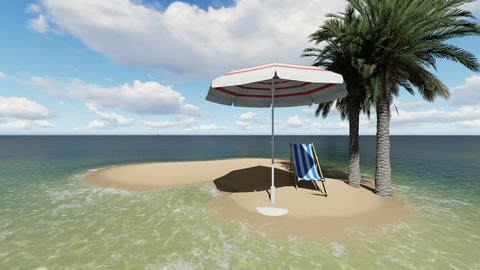 chair under an umbrella at the beach by sunny day and two palm tree - 3D render Animation