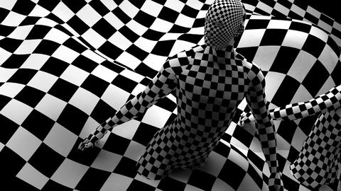 pan and zoom camera - Checkered composition with Black end Red checkered people Animation