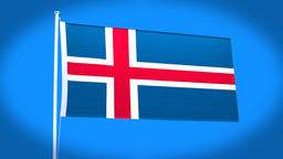the national flag of Iceland Animation