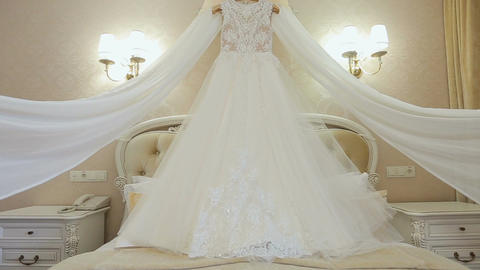 Beautiful white dress of the bride. Morning bride Filmmaterial