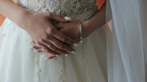 Hands beautiful bride in a white dress. Morning bride Footage