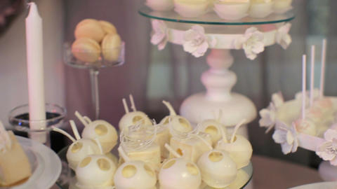 Candy Bar Wedding, candy buffet, delicious Candy bar at a wedding Footage