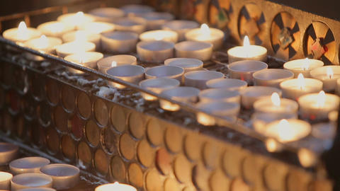Detailed Shot of Burning Candles in the Church 画像