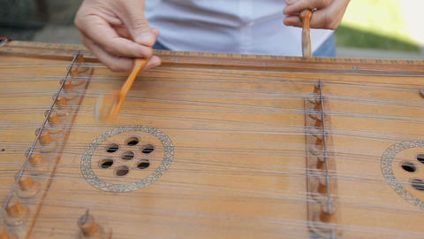 Wedding musician plays traditional Ukrainian instrument dulcimer