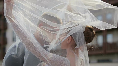 Beautiful Wedding couple hugging and kissing Footage