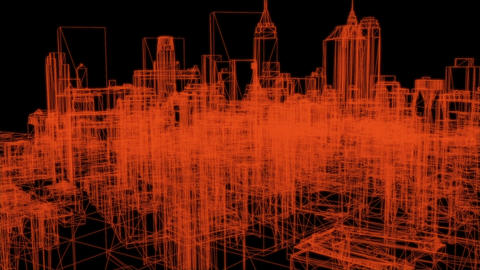 wire frame model of city - 3D Rendering Animation