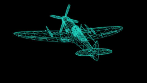 Airplane wire model isolated on black - 3D Rendering Animation
