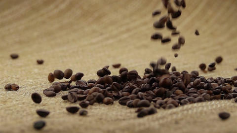 Coffee Beans Falling on the Sack Footage