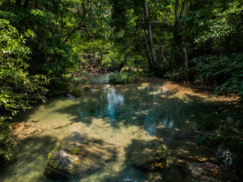 beautiful Erawan waterfall in Kanchanaburi Foto