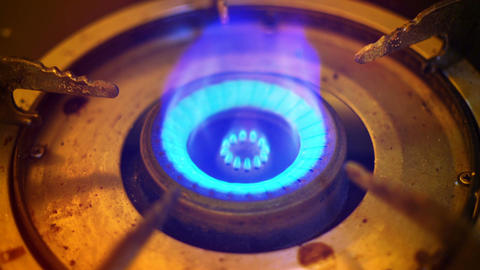 Opening and closing gas burner close-up Footage