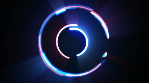 Blue and red spinning light streaks seamless loop Footage