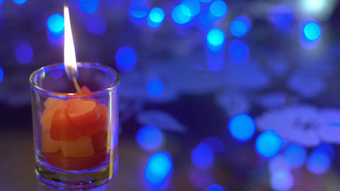 Lighting up decorative Valentine's day candle Stock Video Footage