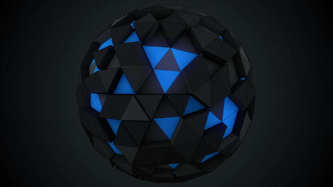 Low poly sphere rotating. Abstract 3d render loop animation Animation