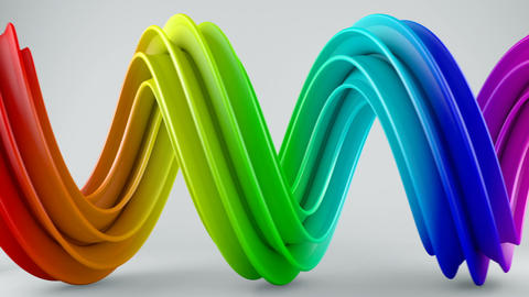 Colorful twisted 3D shape spinning seamless loop Animation