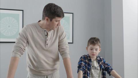 Daddy and Son Begin Dancing Getting Wonder Idea Footage